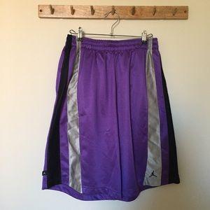 Purple Jordan basketball shorts